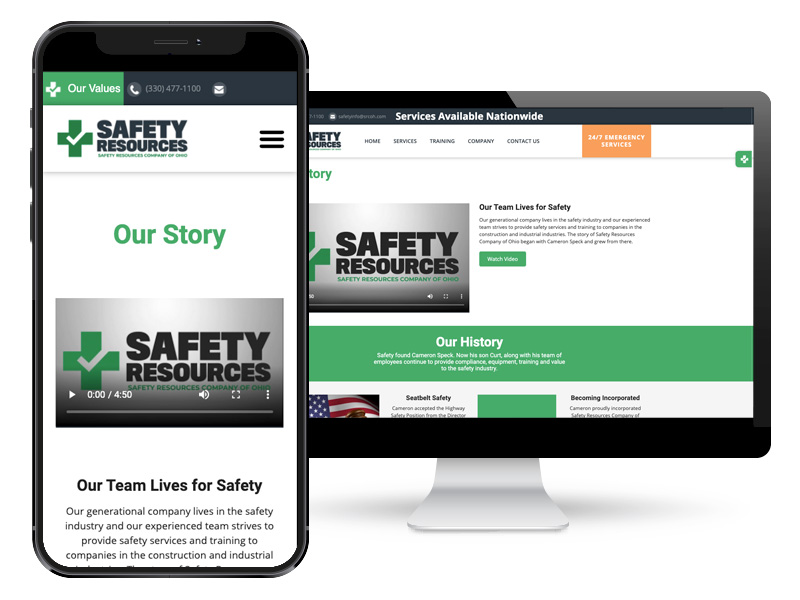 responsive design for the safety resources site example