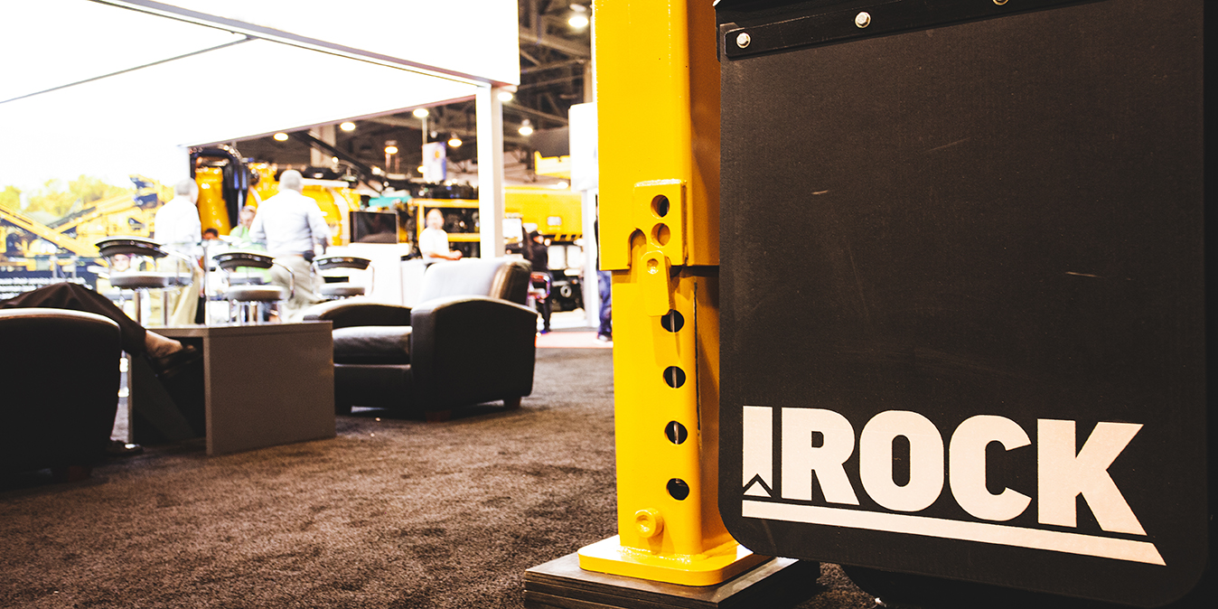 view of the IROCK lounge at the trade show booth
