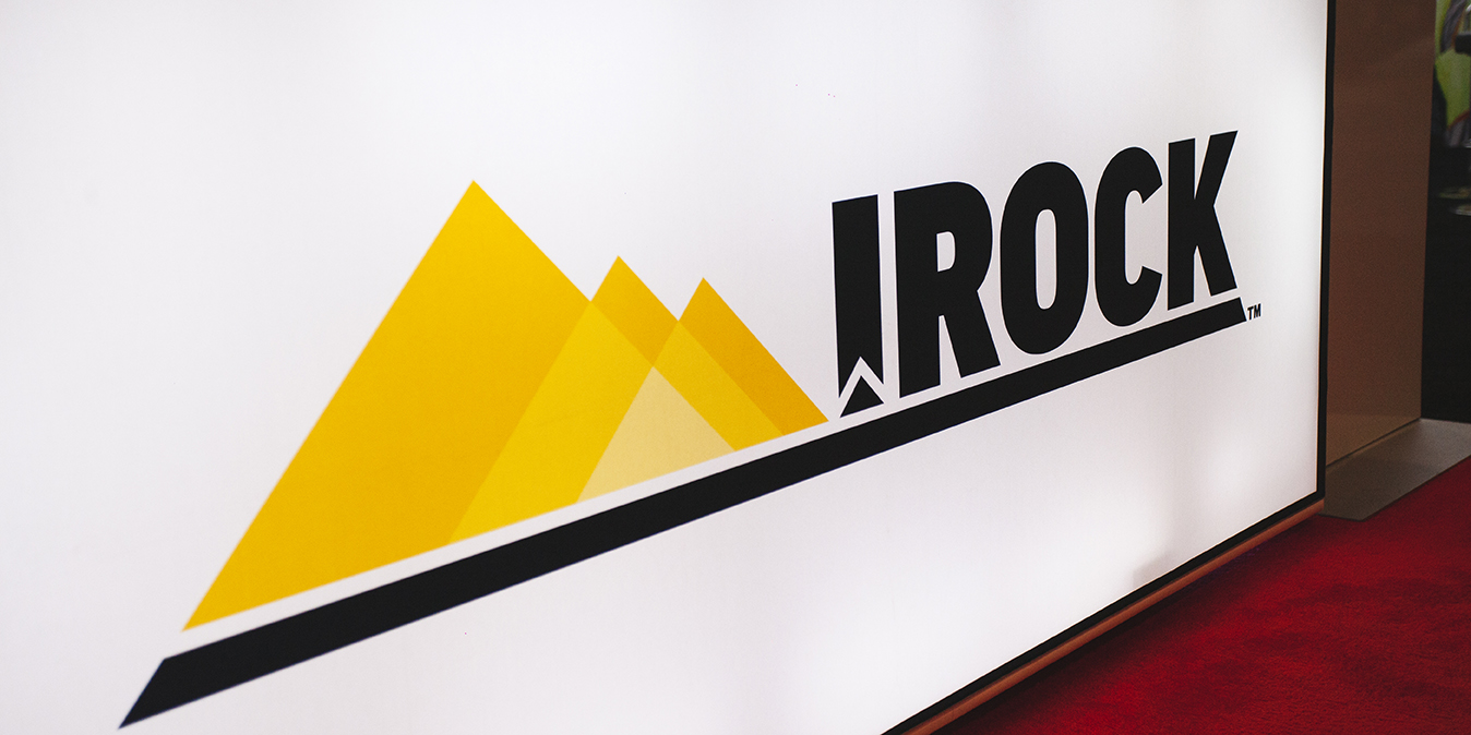 logo of the IROCK trade show booth