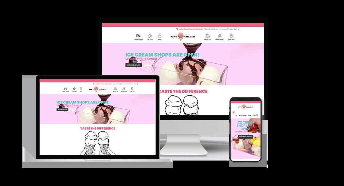 Pav's Creamery homepage example