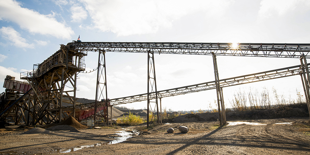conveyor system on-site at a US Aggregate location