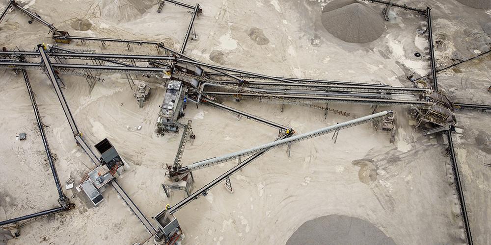 Drone footage of a limestone plant