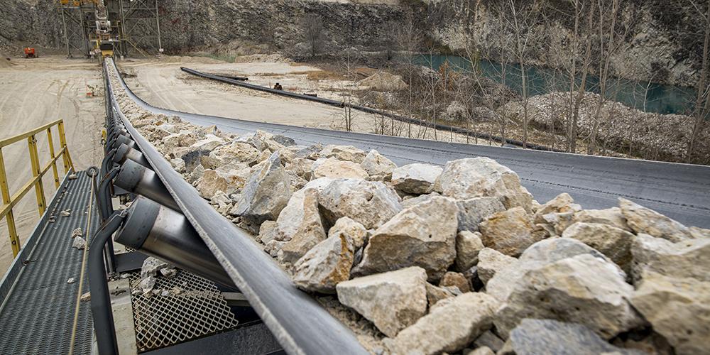 rock on a conveyor